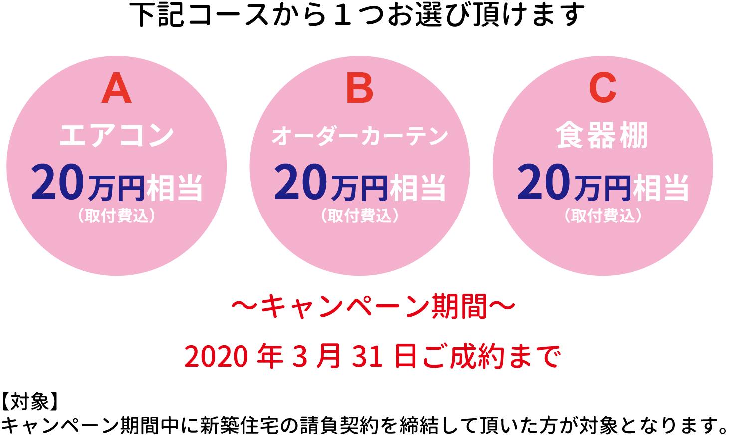 Aエアコン20万円相当 Bオーダーカーテン20万円相当 C食器棚20万円相当